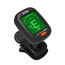 Guitar Tuner, Clip-On Vibration Tuning, for Chromatic Guitar Violin Ukulele Bass plastic black, by LC Prime