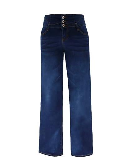 Frauen Jeans Büro Frauen hohe Taille lose breite Bein Jeans Denim Hose