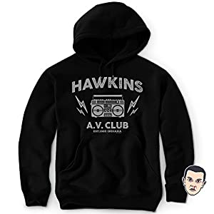 DAFT Hawkins Middle School AV Club Hoodie Sweatshirt Stranger & Things Sticker Unisex