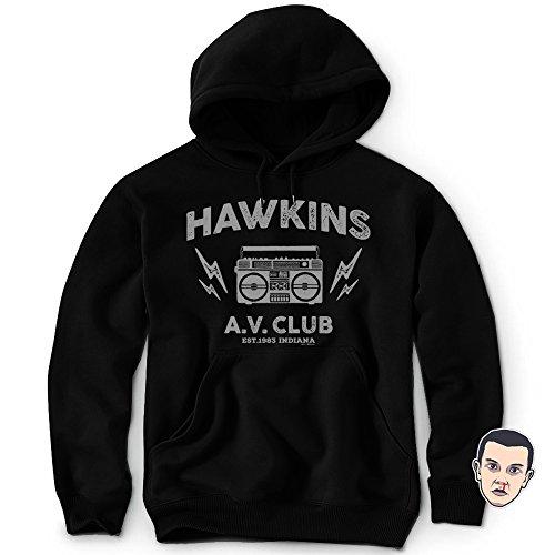 DAFT Hawkins Middle School AV Club Hoodie Sweatshirt Stranger & Things Sticker Unisex