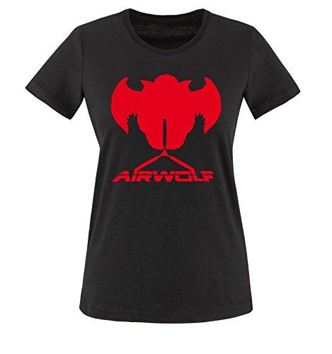 Mujer Rojo wolf Negro Air Camiseta Negro cortas Mangas qO8wAOxIU