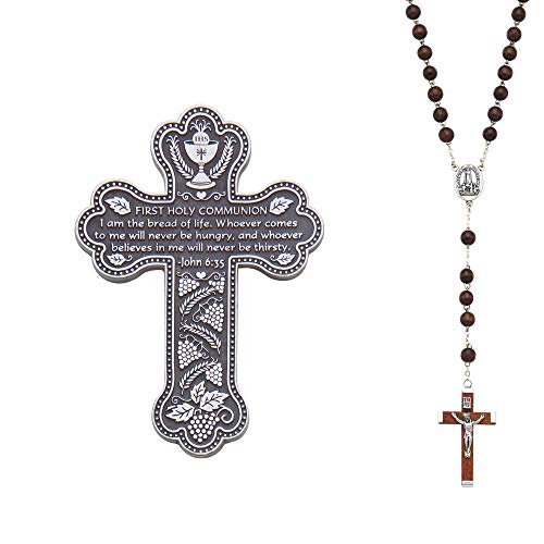 Abbey CA Gift Bread Silver Tone and Brown 6 inch Metal First Communion Wall Cross and - Metal Silver Accent Tone
