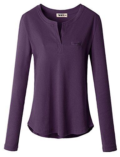 Doublju Women Casual Solid Color Long Sleeve Tops PURPLE,M