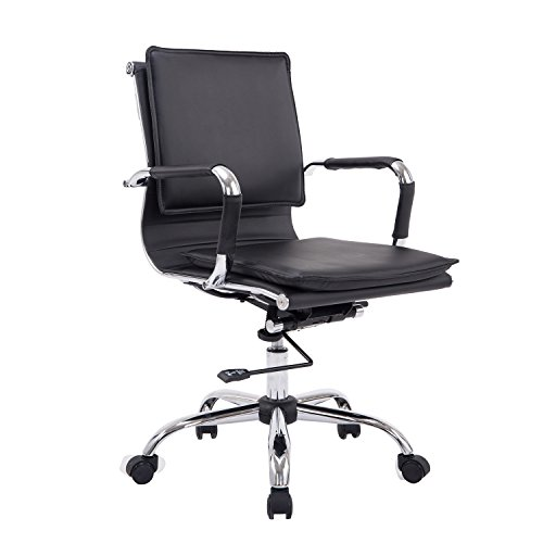 HomCom PU Leather Mid Back Executive Office Chair - Black