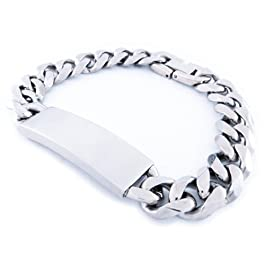 Stainless Steel Faceted Curb Chain Plain ID Bracelet 11mm 8″