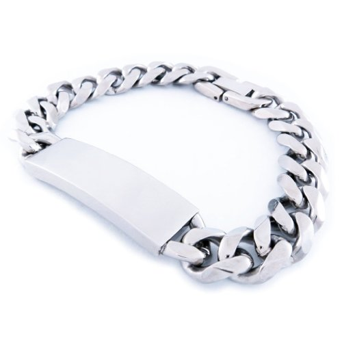 Stainless Steel Faceted Curb Chain Plain ID Bracelet 11mm 8