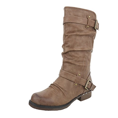 Heel at Design Boots Light Block amp; Brown Ital Women's Boots Biker Cowboy qpaOnUH