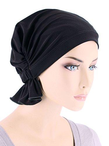 Abbey Cap Womens Chemo Hat Beanie Scarf Turban Headwear For Cancer Blended Knit Raven Black (Black Raven Beanie)