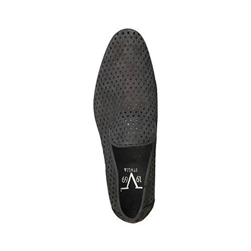 V 1969 - GAEL_NERO Mocassini Uomo Loafer Scivolare Su Piatto Scarpe