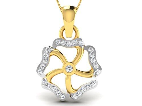 Or Jaune 9 ct Pendentifs Diamant en forme de Fleur, 0.14 Ct Diamant, GH-SI, 0.67 grammes.