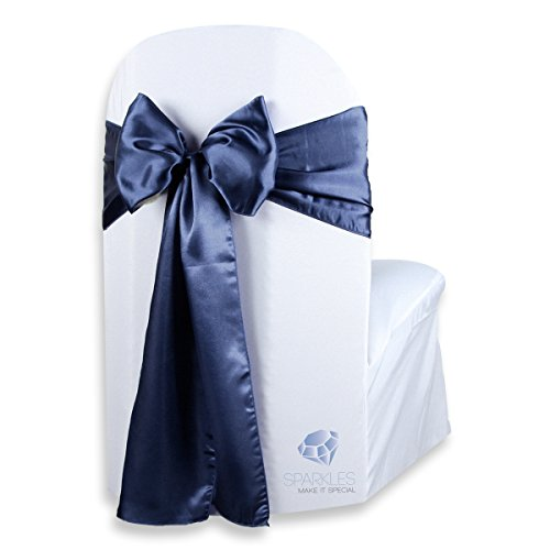 Any Color Sash (Sparkles Make It Special 50 pcs Satin Chair Cover Bow Sash - Navy Blue - Wedding Party Banquet Reception - 28 Colors Available)