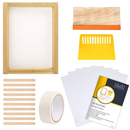 Caydo 20 Pieces Screen Printing Starter kit Include Instructions, 10 x 14 Inch Wood Silk Screen Printing Frame with 110 White Mesh, Screen Printing Squeegees, Inkjet Transparency Film and Mask Tape