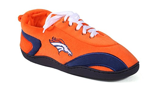 Happy Feet & Comfy Feet - OFFICIALLY LICENSED Mens and Womens NFL All Around Slippers Denver Broncos