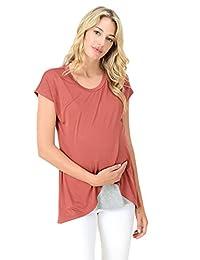 HelloMiz Maternity Asymmetrical Overlay Nursing Breastfeeding Top