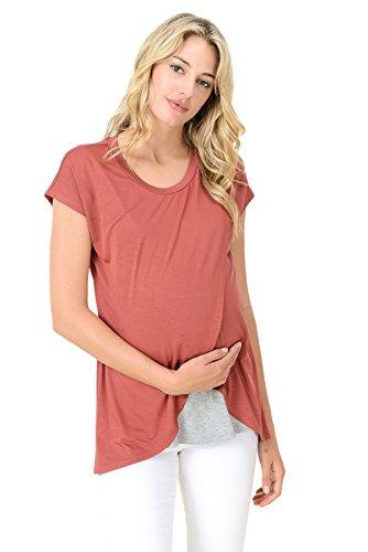 Hello Miz Maternity Asymmetrical Wrap Overlay Nursing Breastfeeding Top (Large, Brick/Grey)