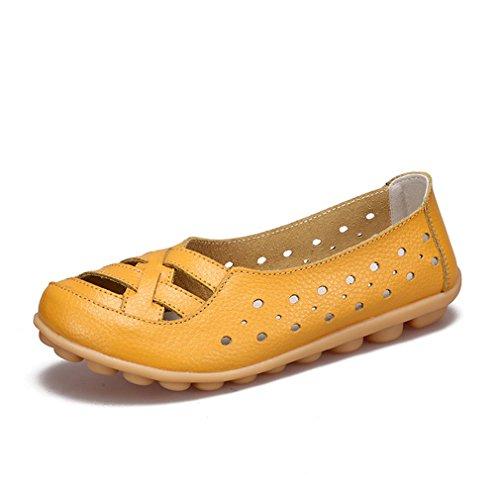 ballet de mujer genuinos Zapatos de Bridfa Calzado mujer mujer Mocasines Zapatos de cuero de de Zapatos de Zapatos antideslizantes Zapatos Amarillo vaca 7z0xqzZH