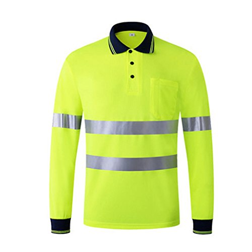 Hogear Reflective Polo Long Sleeve Tshirt Safety Top Hi Vis Quik Dry Yellow,L ()