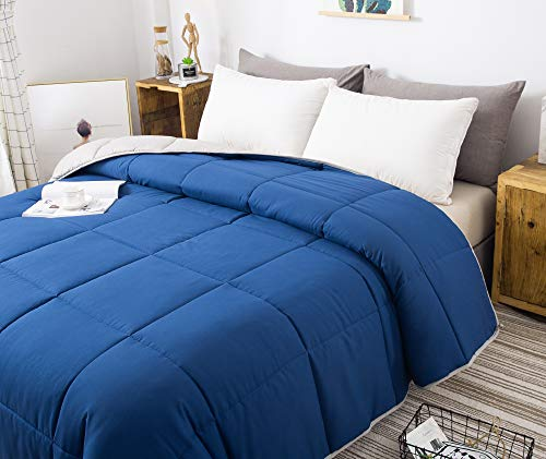 Decroom Down Alternative Comforter King Size,Light Weight Fluffy,Soft and Hypoallergenic for All Season,Quilted Duvet Insert with Corner Tab (King, Navy/Grey)