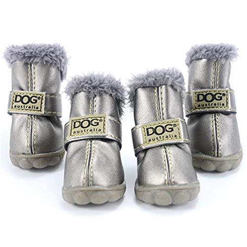 Invierno Set Feidaeu Para Zapatos Plata Algodón Cálido Mascotas 4pcs De Antideslizantes Perros Pequeños F0IS0xH