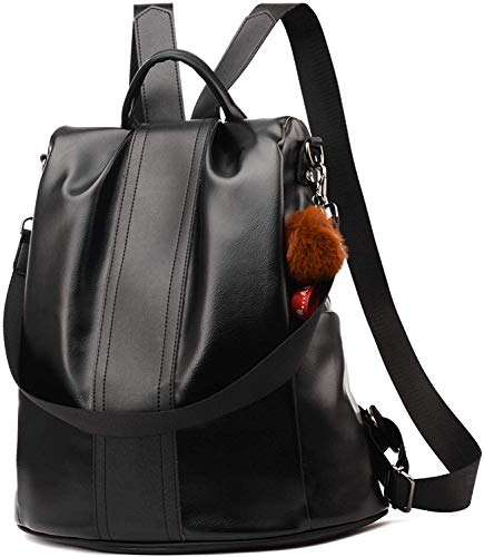 PARADOX LABEL Paradox Girl's Water Resistant Vegan Leather Anti-Theft School Shoulder Backpack Bag (Black)