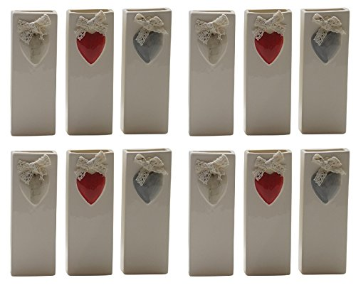 Gicos P15694B-2 Radiators Humidifier, Ceramic, Heart Decorated with Bows Design (Pack of 12) [ Italian Import ]