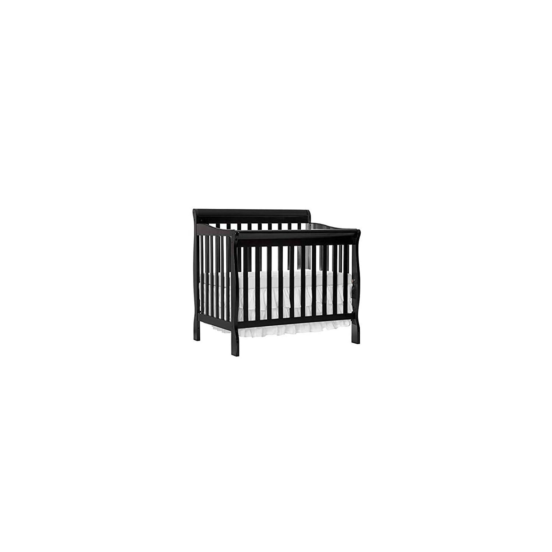 Dream On Me 4 in 1 Aden Convertible Mini Crib, Black with 3 Mini/Portable Crib Mattress, White