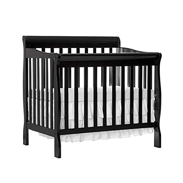 Dream On Me 4 in 1 Aden Convertible Mini Crib, Black with 3 Mini/Portable Crib Mattress, White