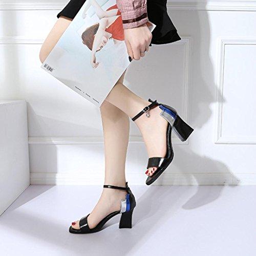 Word Estate Heel Sandali Princess Toe Spesso Tacchi Party Cm con Partito Sandali Sandali Nero Fibbia Sexy 7 Open Italily Alti Elegante Donna Roma 2018 Donne Paillettes High HAnBwWv1q