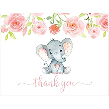Nice 50 Pink Watercolor Floral Elephant Baby Shower Thank You Cards + Envelopes