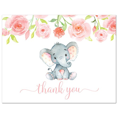 50 Pink Watercolor Floral Elephant Baby Shower Thank You Cards + (Baby Shower Thank Yous)