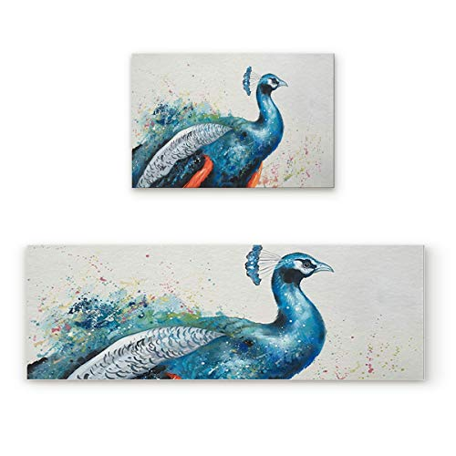 (CHARMHOME Kitchen Mat Set, Elegant Proud Peacock Print 2 Piece Non-Slip Rubber Backing Carpet Washable Cushioned Kitchen Rugs Doormat Runner Set,)