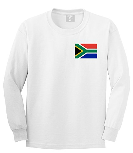 South Africa Flag Country Chest Long Sleeve T-Shirt Large White by Kings Of NY