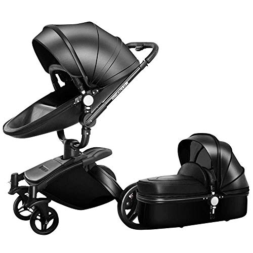 TZZ Luxury 3 in 1 Baby Stroller High Landscape Foldable Pram Carriage with 5-Point Safety Belt, for Toddler Girls and Boys (Color : 2 in 1 Black)