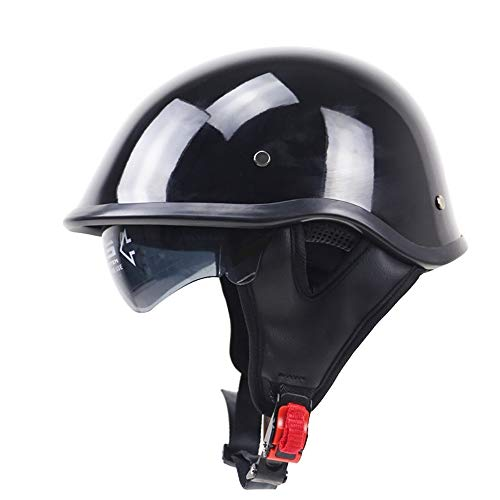 Motorcycle Half Helmet Buckle Moped Chopper Helmet with Inner Sun Visor DOT Certified Detachable Ear Lining Protection Safety Protect Unisex Universal (Chopper Buckle)