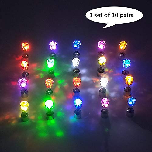 esonstyle 10 Pair LED Earrings Glowing Light up Ear Drop Pendant Stud Stainless Multi-color