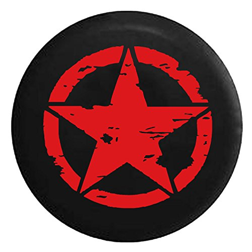 Oscar Mike Military Tattered Tactical Star Spare Jeep Wrangler Camper SUV Tire Cover Red Ink 32 in