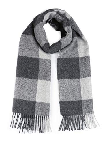 100% Pure Baby Alpaca Buffalo Plaid Scarf for Men and Women (Silver/Gray)