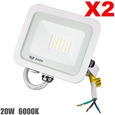 Popp PACK 2 Floodlight Led Foco Proyector Led para Exterior ...