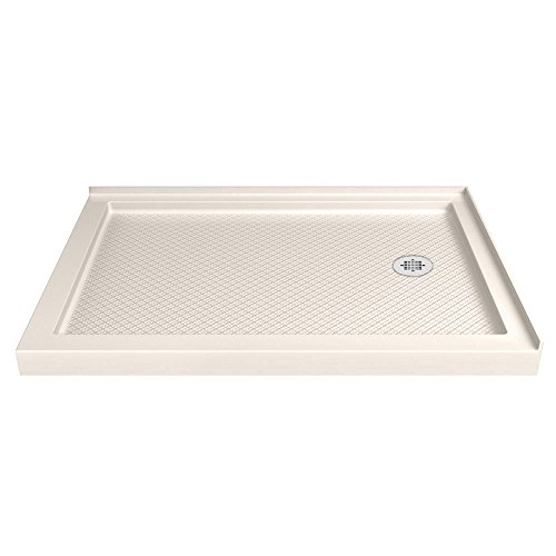 DreamLine SlimLine 36 in. D x 60 in. W x 2 3/4 in. H Right Drain Double Threshold Shower Base in (Biscuit Base)
