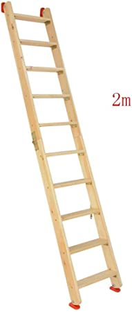 CAIJUN Plegable Escalera Multifuncional Casa Espesar Madera Maciza Plegable Portátil La Seguridad Escalera De Espiga Antideslizante, 4 Tallas Doble Uso (Color : Wood Color, Size : Full Length 2m): Amazon.es: Hogar