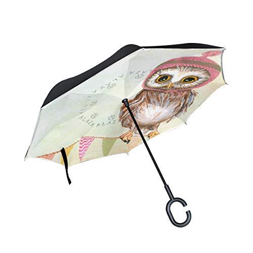Ladninag Inverted Reverse Umbrella Cartoon Windproof for Car Rain Outdoor