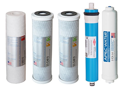 APEC High Flow US Made 45 GPD Complete Replacement Filter Set for ULTIMATE Series Reverse Osmosis Water Filter System (For Upgraded System FILTER-MAX45-38) by APEC Water Systems