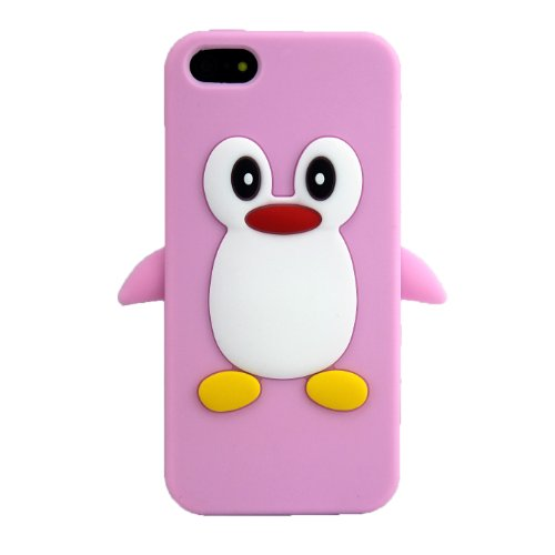 Apple iPhone 5 5S Pinguin Rosa Schutz-Hülle Silikon Soft Case Schale Cover 3D thematys®