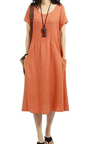 Womens Summer Loose Cotton Linen Pullover Dress