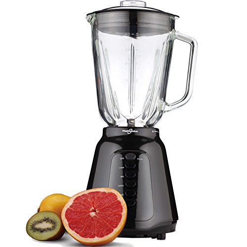 Hephaestus HY-1121G 5-Speed+Pulse Smart Blender Food Processor Mixer- 48 oz. Glass Jar, Black