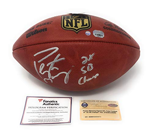 Peyton Manning Indianapolis Colts Denver Broncos Signed Autograph Authentic NFL Duke Football 2X SB CHAMP INSCRIBED Fanatics & Steiner Sports (Peyton Manning Signed Authentic Football)