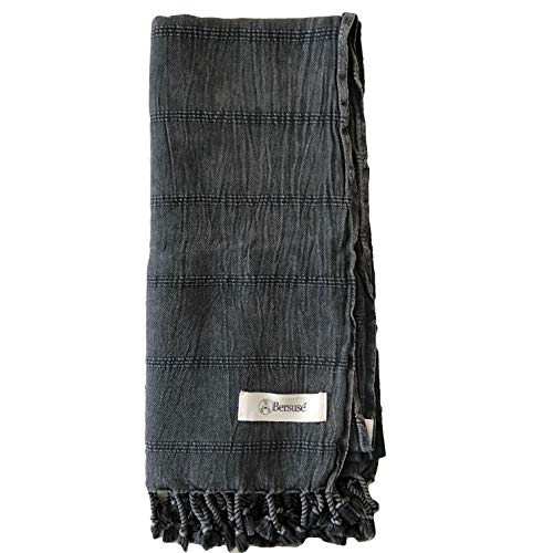 Bersuse 100% Cotton Troy Stonewashed Handloom Turkish Towel-33X70 Inches, Black