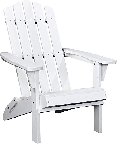 PolyTEAK Classic Folding Adirondack Chair, Powder White - Looks Like Wood - All Weather Waterproof Material - Poly Resin Adirondack - Foldable Chair - Feels Like Teak