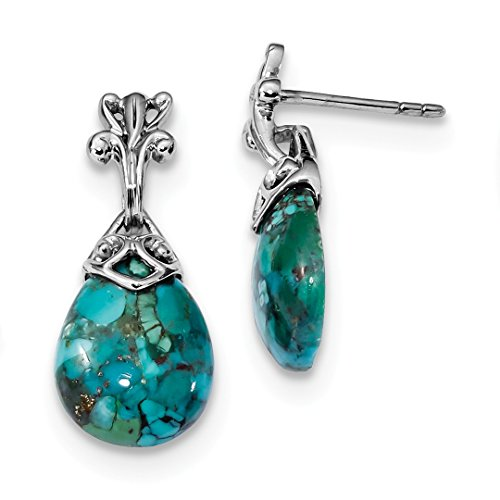 925 Sterling Silver Reconstituted Blue Turquoise Drop Dangle Chandelier Post Stud Earrings Fine Jewelry For Women Gift ()