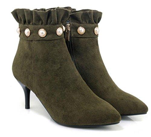 KUKI Herbst Damen Stiefel High-Heels Schuhe mit Schuhen scheuern nackten Stiefel Martin Stiefel große Größe Frauen Stiefel green